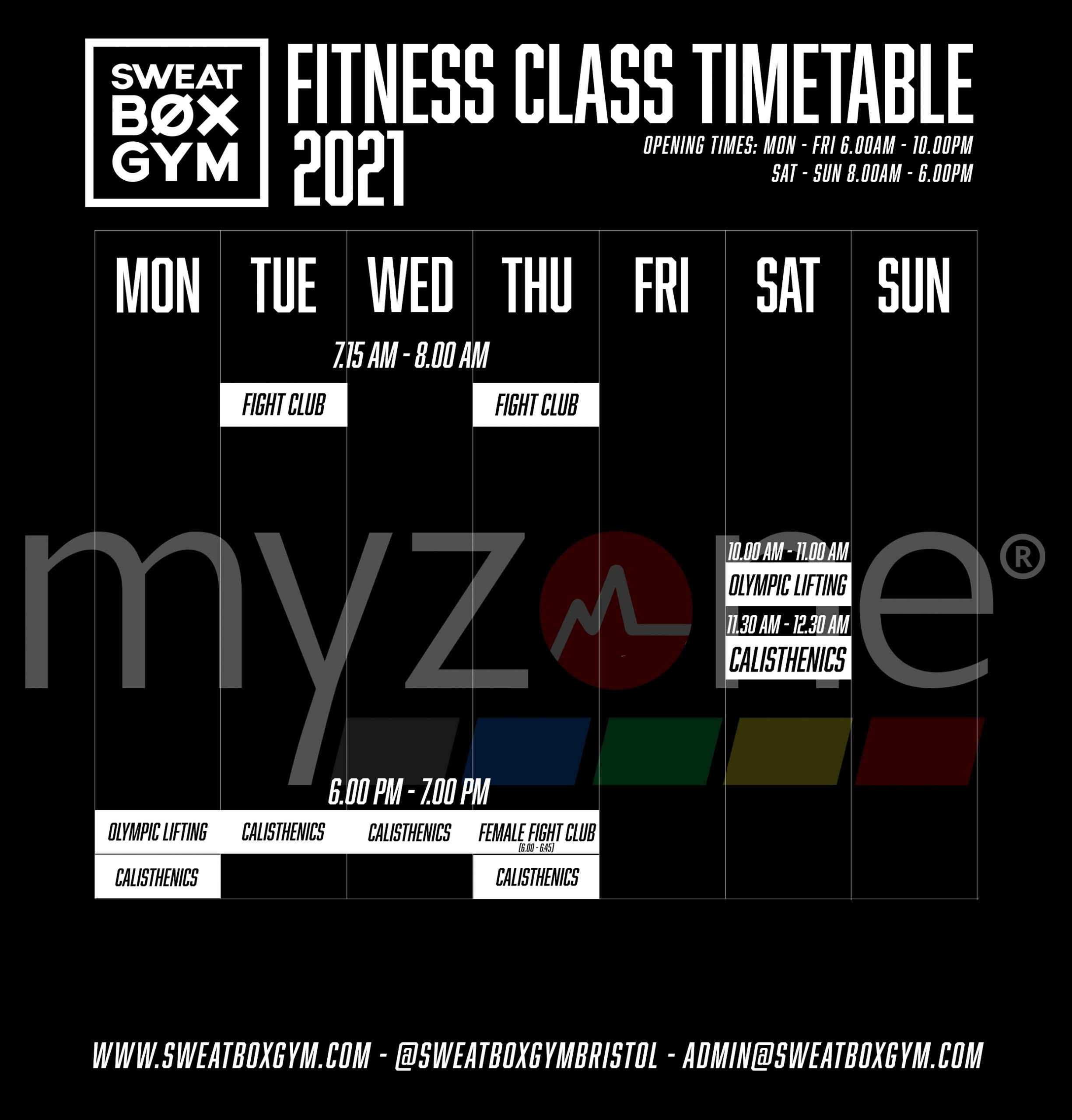 June New Fitness Time Table